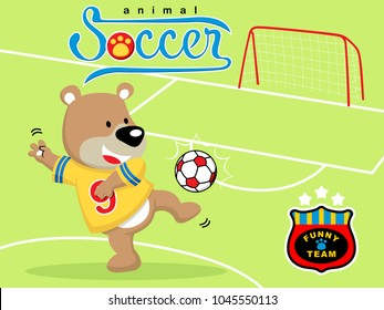 Vector of funny soccer player cartoon