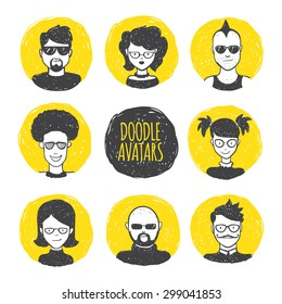 Vector funny user avatars in trendy hand drawn doodle style. Eight human faces on yellow hand drawn circles.