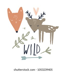 Vector funny wild animals set.  Scandinavian style. Stickers, prints for cards, posters, baby t-shirts and other clothes. Clipart. Isolated.