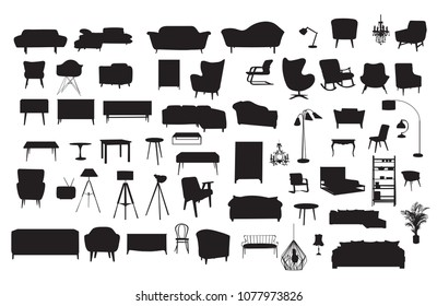 vector furniture drawing silhouette. home house interior design. collection set elements. interior icons collection