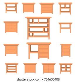 vector furniture set elements. home interior design.