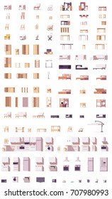 Vector furniture set. Includes chairs, sofas, cabinets, patio and kitchen furniture