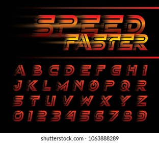 Vector of Futuristic Alphabet Letters and numbers, Speed effect faster motion Alphabet Font, One single line for each letter, Minimal Oblique Letters set for sci-fi, military. Racing, contest, express