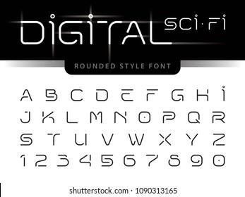 Vector of Futuristic Alphabet Letters and numbers, One linear stylized rounded fonts, Digital Techno. Thin Minimal Letters set for sci-fi, Technology, Future, Geometric, military.