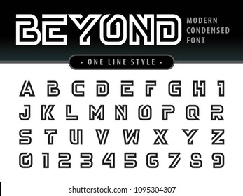 Vector of Futuristic Alphabet Letters and numbers, One linear stylized rounded fonts, One single line for each letter, Black Condensed Letters set for sci-fi, military.