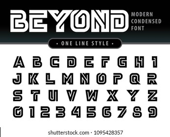 Vector of Futuristic Alphabet Letters and numbers, One linear stylized rounded fonts, One single line for each letter, Bold Black Condensed Letters set for sci-fi, military.