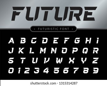 Vector of Futuristic Alphabet Letters and numbers, Future Techno stylized fonts, Black italic Letters set for sci-fi, Technology, digital, Geometric, military.