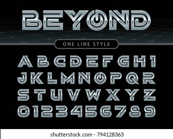 Vector of Futuristic Alphabet Letters and numbers, One linear stylized rounded fonts, One single line for each letter, Chromium Letters set for sci-fi, military.