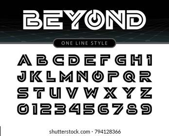 Vector of Futuristic Alphabet Letters and numbers, One linear stylized rounded fonts, One single line for each letter, Bold Letters set for sci-fi, military.