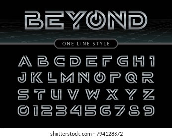Vector of Futuristic Alphabet Letters and numbers, One linear stylized rounded fonts, One single line for each letter, Bronze Letters set for sci-fi, military.