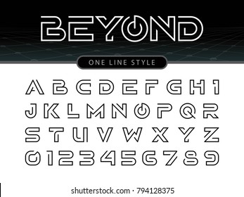 Vector of Futuristic Alphabet Letters and numbers, One linear stylized rounded fonts, One single line for each letter, Thin Letters set for sci-fi, military.\r