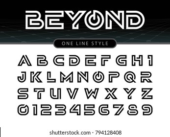 Vector of Futuristic Alphabet Letters and numbers, One linear stylized rounded fonts, One single line for each letter, Black Letters set for sci-fi, military.