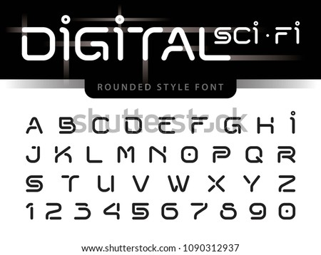 Vector of Futuristic Alphabet Letters and numbers, One linear stylized rounded fonts, Digital Techno. Black Minimal Letters set for sci-fi, Technology, Future, Geometric, military.