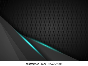 vector futuristic dark iron techno texture. Blue abstract electron energy line on brushed black metal background. Power vein light tech pattern