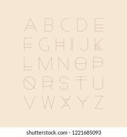 Vector futuristic font - minimalistic design. Modern english alphabet, thin latin letters