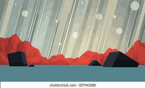 Vector Futuristic Geometric Mountain Scene