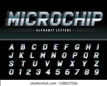 Vector of Futuristic Italic Alphabet Letters and numbers, Microchip Techno stylized fonts, Letters set for sci-fi,Technology, Hi-tech,digital,Geometric,circuit Board, Electronics,computer,Fast Speed