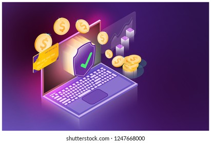 vector futuristic Smart security Credit Cards controls technology controlling protection system With space for content,web,template,online business tech presentation appliances via internet