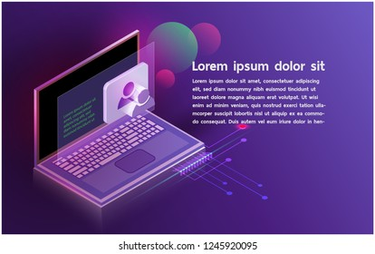 Vector futuristic smartsecurity controls technology controlling protection system With space for content,web- template, business tech presentation,notebook appliances via internet, security controls