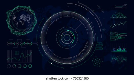 Vector futuristic user interface HUD design graphs and charts, Global digital network communications map world