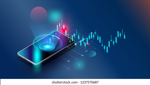 Vector futuristic,smartphones controls stock market forex trading graph Vector futuristic  Smart investment technology controlling protection system global Network financial investment economic trends
