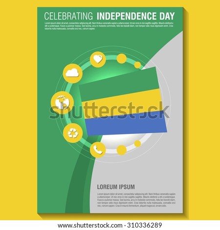 vector gabon independence day flyer template creative brochure title page national day leaflet design