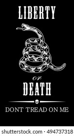 Vector Gadsden flag depicting a rattlesnake coiled in the grass and the inscription Don't Tread On Me on and the inscription Liberty or Death the black background