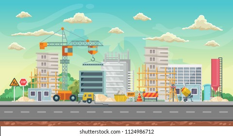 Vector game background. Landscape orientation. Panorama with construction