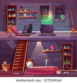 Vector game background of witch house with cellar. Basement with hatch, coffin and bones in vault. Stuff for magic and black cat. Shelves with potions, big cauldron. The backdrop for the quest.