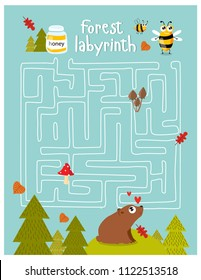Vector game for children with a labyrinth.  forest labyrinth. Forest animal. cartoon bear and bee. Bear finding honey.