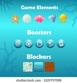 Vector game elements - starfish, jellyfish, gem, pearl and seashell, boosters - swirl, bomb, time, wooden and stone blockers for an underwater game concept
