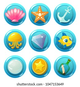 Vector game icons with seashell, starfish, anchor, jellyfish, gem, fish, pearl, coin and bottle for underwater match three game on white background. Isolated elements.