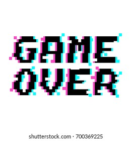 Vector game over phrase in pixel art style with glitch VHS effect. Three color half-shifted letters. Occassional pixels around.