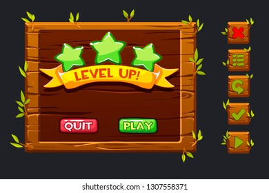 Vector game ui kit. Template wooden menu of graphical user interface GUI and buttons to build 2D games. Ribbon level up, star icons and set buttons,