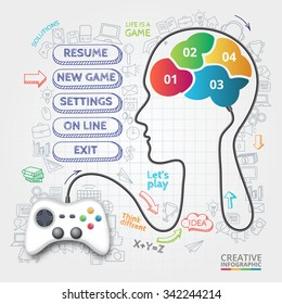 Vector gamepad that controls the brain. Doodles icons set. Infographic template with 4 options, parts, steps or processes.