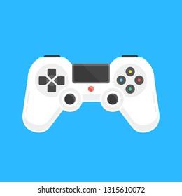 Vector gamepad. White game controller. Video gaming concept. Modern flat design. Vector illustration