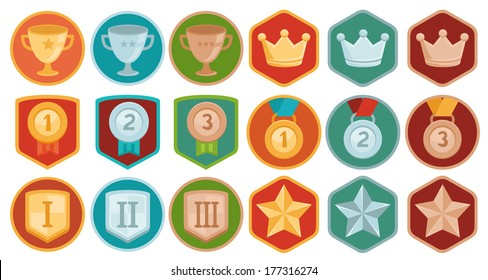 Vector gamification icons and achievement badges in flat trendy style - three winning places in gold, silver and bronze - cup, medal, shield, crown and star