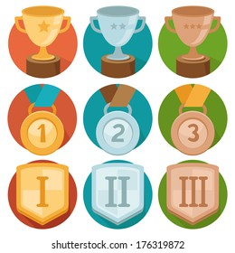 Vector gamification icons in flat trendy style - three winning places in gold, silver and bronze - cup, medal and shield
