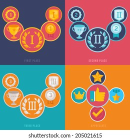 Vector gamification icons and signs in flat style - first, second and third places and prizes - achievement badges