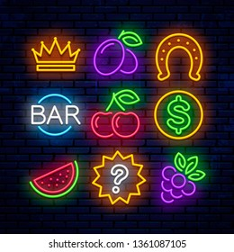 Vector gaming neon icons for casinos. Signs for slot machines.