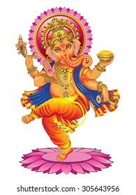 Vector Ganesha on a white background.