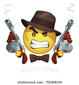 Vector gangster smiley with a Thompson machine guns. Yellow emoji of angry criminal character with a scar, retro hat, bow tie and cartoon dual tommy guns. American Mafia emoticon on a white background
