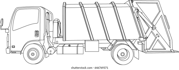 Vector garbage truck, Hand Drawn isometric left side
