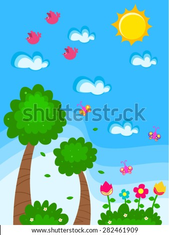 Vector Garden Cartoon Drawing Kids Flowers Stock Vector Royalty - Drawing-for-kids