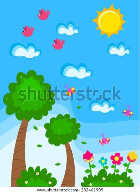 Vector Garden Cartoon Drawing Kids Flowers Stock Vector Royalty