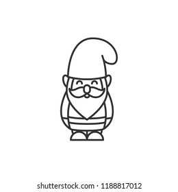Vector garden gnome icon in linear style isolated on white background