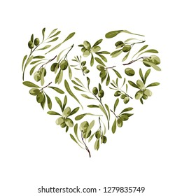 Vector garden heart shape background with olive tree for st valentines day with love symbol
