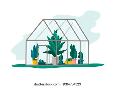 Vector garden illustration with a greenhouse. Excellent for the design of postcards, posters, stickers and so on.