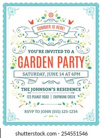 Vector garden party invitation with ornaments and ribbons.
