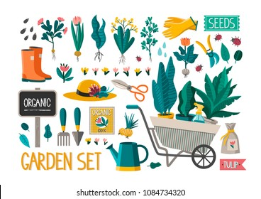 Vector garden set. Excellent for the design of postcards, posters, stickers and so on.